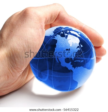 environmental protection or eco concept with world in a hand on white