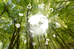 Environmental technology concept on a nature landscape background