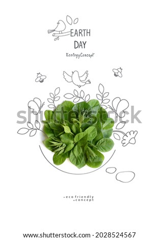 Environmentally friendly planet Poster. Earth day.Symbolic speaking bubble, made from green grass with sketches   of branches, foliage, birds.Minimal nature concept. Nature speaking Think Green.