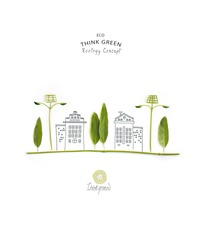 Environmentally friendly planet. Trees and solar street lights, made of green leaves with hand drawn sketches of a city houses. Minimal nature concept.Think Green. Ecology Concept.Flat lay.Top view.