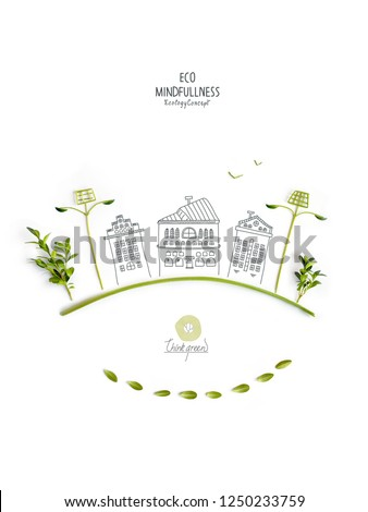 Environmentally friendly planet. Trees and solar street lights, made of green leaves with hand drawn sketches of a city houses. Minimal nature concept.Think Green. Ecology Concept.Flat lay.T #1250233759