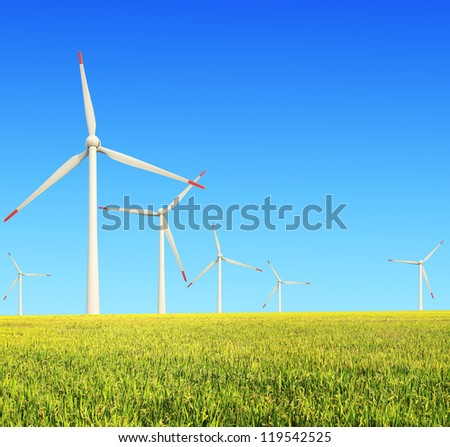 Environmentally friendly power generation wind turbines in the rice  farms