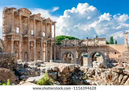 EPHESUS, TURKEY: Library of Celsus in the ancient city of Ephesus, Turkey. Ephesus is a UNESCO World Heritage site.