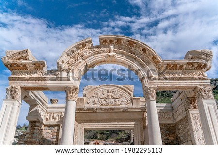 EPHESUS, TURKEY: Marble reliefs in Ephesus historical ancient city, in Selcuk,Izmir,Turkey.Figure of Medusa with ornaments of Acanthus leaves,Detail of the Temple of Hadrian. Stock fotó ©