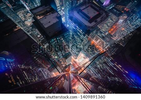 Epic and Futuristic Architecture Financial District Skyscraper Look-downs in Toronto Canada Foto stock ©