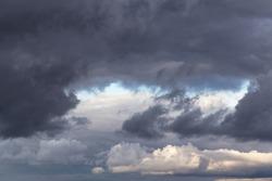 Epic dramatic Storm sky, dark grey cumulus clouds background texture