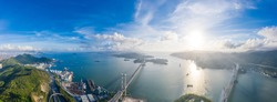 Epic evening view of the Tsing Yi Bridge, Suspension bridge in west side of Hong Kong. aerial shot