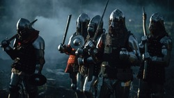 Epic Invading Army of Medieval Soldiers Marching Through Forest. Armored Warriors with Swords on a Kill and Destroy Mission. War, Battle, Invasion, Conquest. Cinematic Historical Reenactment