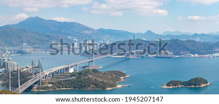 Epic panorama aerial view of Tsing Ma Bridge, the famous span suspension bridge in Hong Kong, outdoor, daytime Stok fotoğraf ©