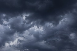 Epic Storm sky, dark grey clouds background texture