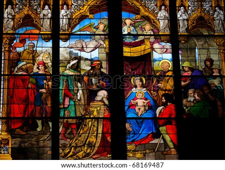 Epiphany - Adoration of the Magi - Church window in Dom of Cologne - christian feast celebrated on 6 January