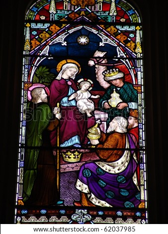 Epiphany scene on stained glass window