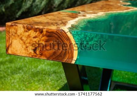 epoxy resin handmade wooden table Stock fotó ©