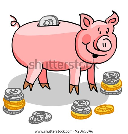 EPS 10: Cute and fun cartoon piggy bank with silver and gold coins.