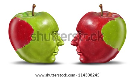 Equal partners and business relationship concept with a green and red apple in the shape of a human head with a bite transplanted from one partner to the other as a symbol of exchange of ideas.