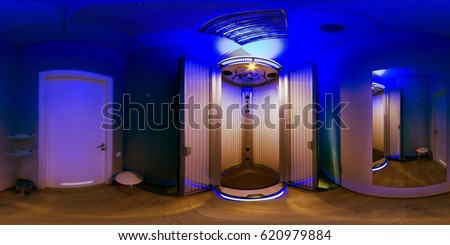 Equal photo projection of the panorama from the inside of the room with a solarium and a tanning device in the spa of the tanning studio.