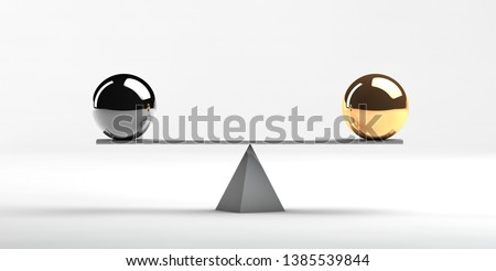 Equal value of different financial instruments 3d rendering