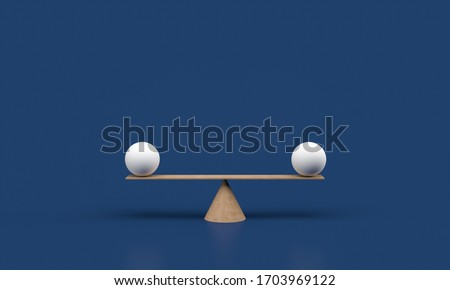 Equal white spheres balancing on a seesaw 3d illustration isolated on white blue background. 3d render balance scale.