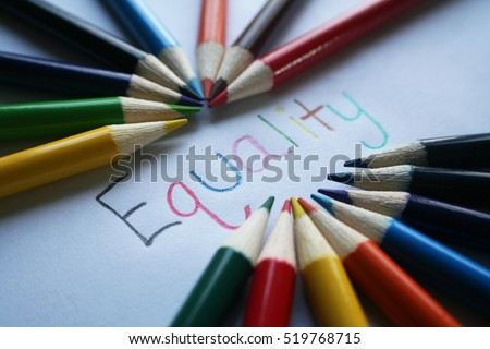 Equality With Colored Pencils Stock Photo High Quality