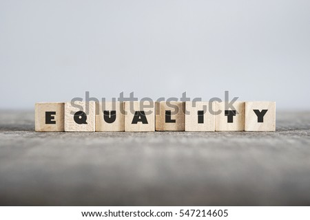EQUALITY word made with building blocks