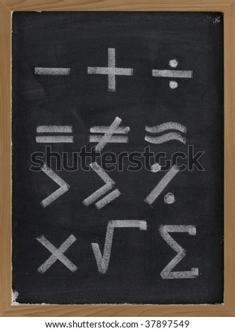 equation shapes - mathematical symbols sketched with thick white chalk lines on blackboard with eraser smudges