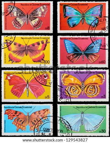 EQUATORIAL GUINEA - CIRCA 1972: A set of postage stamps printed in EQUATORIAL GUINEA shows butterflies, series, circa 1972