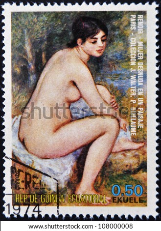 EQUATORIAL GUINEA - CIRCA 1974: A stamp printed in Equatorial Guinea dedicated to the female nude in art history shows naked woman in a landscape by Renoir, circa 1974