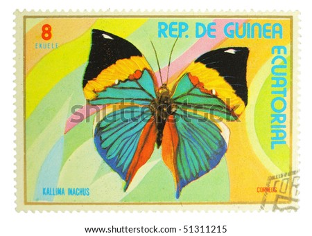 EQUATORIAL GUINEA - CIRCA 1972: A stamp printed in Equatorial Guinea showing butterfly circa 1972