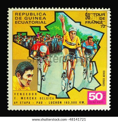 EQUATORIAL GUINEA - CIRCA 1972: A stamp printed in Equatorial Guinea showing Tour de France circa 1972