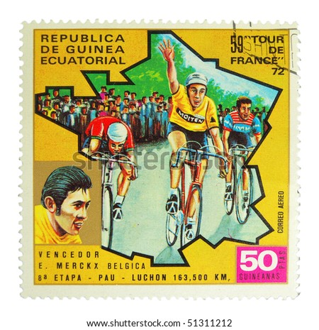 EQUATORIAL GUINEA - CIRCA 1972: A stamp printed in Equatorial Guinea showing Tour de France circa 1972