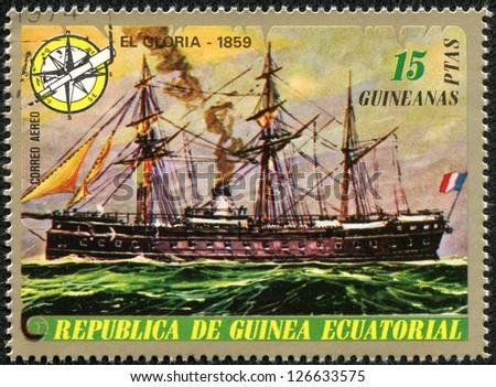 EQUATORIAL GUINEA - CIRCA 1974: Mail stamp printed in Equatorial Guinea ship, circa 1974
