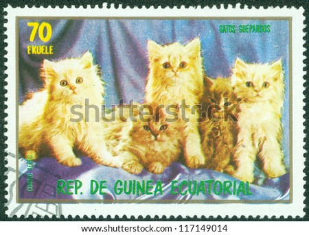 EQUATORIAL GUINEA - CIRCA 1974: stamp printed by Equatorial Guinea, shows cat, kitten, kitty circa 1974