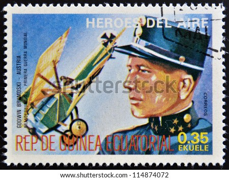 EQUATORIAL GUINEA - CIRCA 1974: stamp printed in Guinea dedicated to air heroes, shows Godwin Brumoski, historic aviator of the First World War, circa 1974