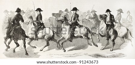 Equestrian escort provided by butchers corporation of Limoges to Prince Napoleon. Created by Worms, published on L'Illustration, Journal Universel, Paris, 1858