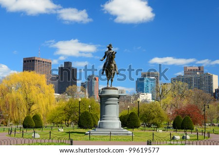 Equestrian George Washington Monument at Public Garden in Boston, Massachusetts.