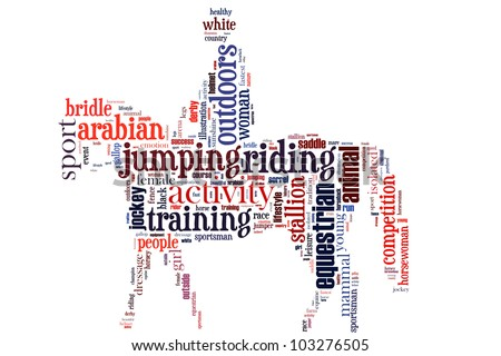 equestrian info-text graphics and arrangement concept (word cloud)