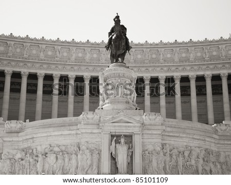 Equestrian monument to Victor Emmanuel II near Victorian at day in Rome, Italy
