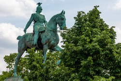 Equestrian sculpture of the last German Emperor and King of Prussia,Wilhelm II., on the western end of Hohenzollern Bridge, Cologne, Germany