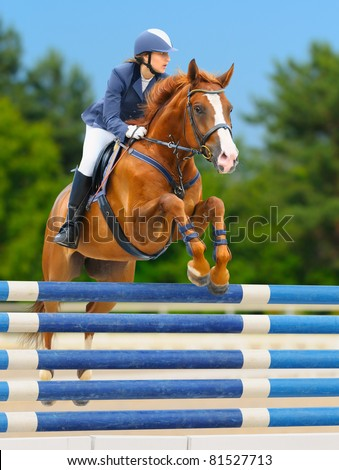 Equestrian sport - show jumping (young woman and sorrel stallion) on nature background