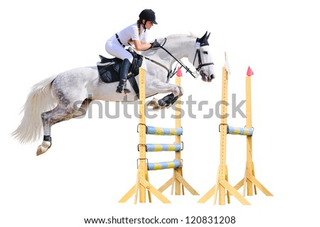 Equestrian sport: young girl in jumping show (isolated on white)