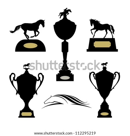 Equestrian sports trophies vector set. Raster version of the loaded vector