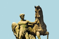Equestrian statue of a Roman warrior on Pont d`Iena in Paris, France. Roman Warrior statue by Louis Daumas