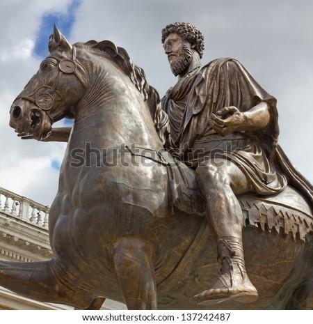 Equestrian Statue of Emperor Marcus Aurelius in Rome