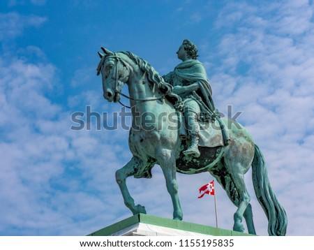 Equestrian statue of Frederik V in front of Amalienborg Castle, Copenhagen, Denmark, Scandinavia, Northern Europe, Europe #1155195835