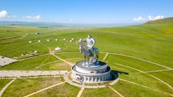 Equestrian statue of Genghis Khan in sunny weather. Mongolia, Ulaanbaatar, From Drone