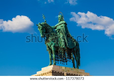 Equestrian Statue of King St. Stephen (Istvan) in Budapest, Hungary. Erected in 1906.