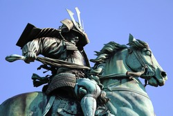 Equestrian statue of Kusunoki Masashige outside the Imperial Palace in Tokyo. Kusunoki Masashige was a Japanese samurai remembered as the ideal of samurai loyalty. This work is out of copyright.