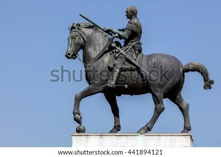 Equestrian statue of the Venetian general Gattamelata (Erasmo da Narni) in Padua, Italy. Cast in 1453 by Donatello, was the first full-size equestrian bronze cast since antiquity. #441894121