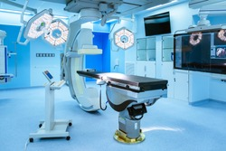 Equipment and medical devices in hybrid operating room  blue filter , Surgical procedures , the operating room of the Future