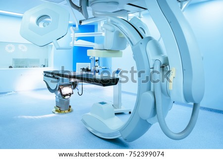 Equipment and medical devices in operating room, blue filter